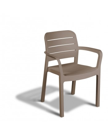 6PZ SEDIA Allibert tisara in RESINA effetto legno cappuccino CON BRACCIOLI IMPILABILE    Made in Italy