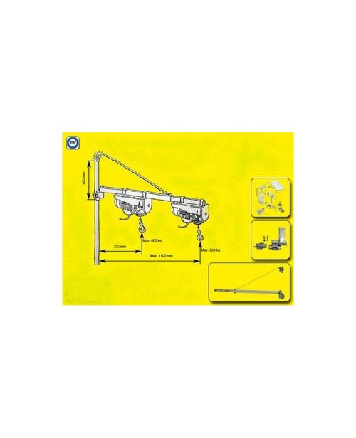 Braccio bandiera per paranco allungabile 1100mm paranchi for Bandiera paranco