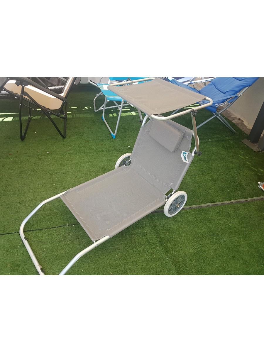 Spiaggina Sdraio Con Ruote.Sedia Spiaggina Sdraio In Alluminio Con Cuscino E Ruote Tettuccio