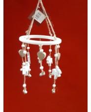 Pendente in legno bianco con cuori e renne diametro 15.5 cm per decorazione Natalizia