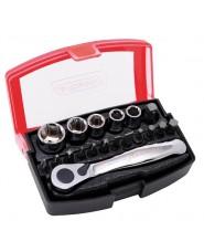 KRAVM - KRAE06096 - Set Cricchetto Con Inserti e Bussole In Acciaio 19 Pezzi