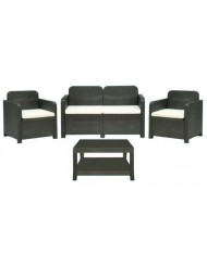 Set Salotto in resina RATTAN LIGHT CLUB ANTRACITE tavolino poltrone cuscini