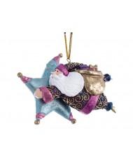 Pendente Babbo Natale con stella celeste\fucsia decorato a mano 12.5 cm