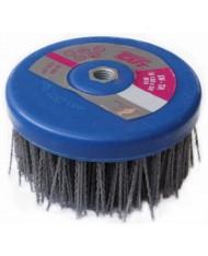SAIT Spazzola a tazza in nylon gr80 abrasiva rusticante SN-TA 130x50 M14 per pulizia e sverniciatura