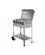 MILLE - Barbecue a carbonella in acciaio inox con coperchio - cm40x70x90h - ACHILLE - MADE IN ITALY