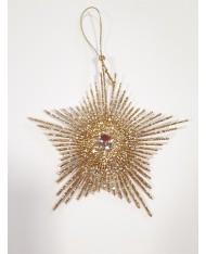 5pz -Pendente fiocco di neve dorato glitterato  per decorazione albero di Natale