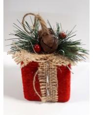4 pz- Pendente a scatola rossa in velluto con bacche 8x9x10 per decorazione albero di Natale