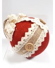 5 pz- Pendente a sfera rossa in rafia con motivo bottoni 10x10x10 per decorazione albero di Natale