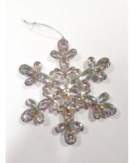 5 pz- Pendente fiocco di neve argento con strass 14.5 cm per decorazione albero di Natale