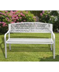 """PANCHINA IN ACCIAIO """"DOTHAN"""" PAPILLON bianca bianco 123x55x62 cm."""
