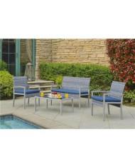 Set tulum con divano, 2 sedie e tavolino con vetro 5mm - SALOTTO