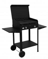 Barbecue a gas 5,5kw 2 fuochi Made in Italy mod Zeus CON PIETRA LAVICA e PIASTRE IN GHISA - BBQ ARTIGIANALE