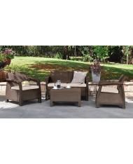 Set da giardino KETER CORFU' MARRONE salotto con 2 poltrone e divano + tavolino