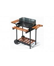Barbecue BBQ IN METALLO GRIGLIA 60X40 REGOLABILE E MENSOLE LEGNO- GIARDINO CAMPAGNA