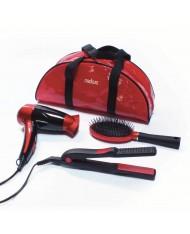 beauty set per capelli- PHON SPAZZOLA PIASTRA + borsa pochette da viaggio MEDICURA M350