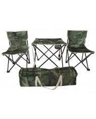 SET camping pesca mare sedie + tavolino mimetico con sacca