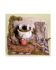 Macina olive con pompa 24x21x17,5 cm per presepe natale frantoio