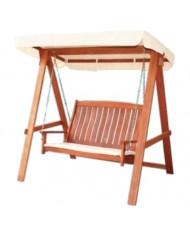 Dondolo 3 posti - in legno massello tropicale - con cuscini - Impression Viet