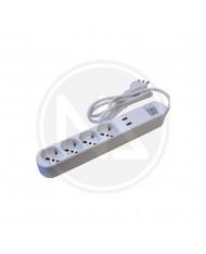 MULTIPRESA CON INTERRUTTORE 4P+SCHUKO BIPASSO+2 USB MAURER