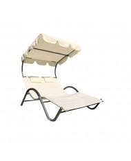 531798 Lettino prendisole 2 posti con tettuccio parasole orientabile giardino relax