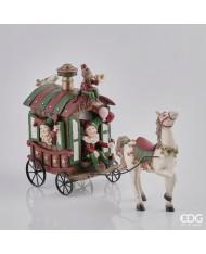CARROZZA CIRCUS POLY CON CAVALLO H 26 L 40 cm arredo natalizio natale