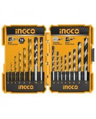 AKD9165 - INGCO - SET 16 PUNTE TRAPANO METALLO LEGNO MURO 2,3,4,5,6,8mm -