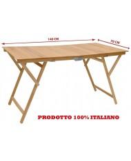 Tavolo tavolino pieghevole richiudibile in legno naturale 70x140x72H cm campeggio