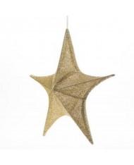 Stella in tessuto oro con effetto 3d del diametro di 80 cm ideale per creare un effetto Natalizio magico