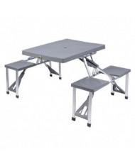 Tavolo da Pic-nic Pieghevole Campeggio in Acciaio/Alluminio/ MDF con 4 Sedie