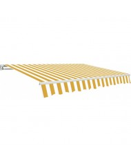 TENDA DA SOLE PER BALCONE BIANCO-GIALLO 2,95X2 MT- Con bracci -Struttura allumin