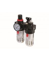 """Filtro riduttore manometro attacco 1/4"""" oliatore per compressore SILVERLINE"""