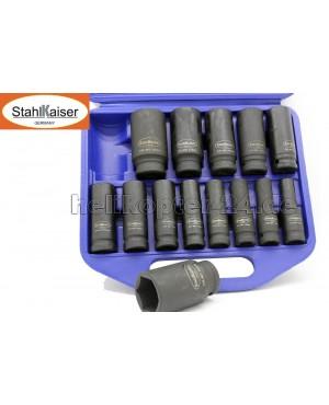 SET BUSSOLE 1/2 LUNGHE - 10/32mm - 16pz - impatto utensili aria - PROFI GERMANY STAHLKAISER